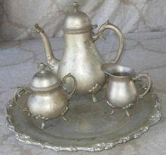 Antique International Silver Company Silverplate 4 piece Tea Coffee Set & Tray