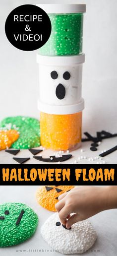 Check out this easy and fun Halloween sensory friendly activity for the kids to enjoy this fall! Halloween Floam for Kids. Grab our free recipe and video showing you how to make halloween floam. Slime For Kids, Halloween Activities For Kids, Halloween Crafts For Kids, Crafts For Kids To Make, Holiday Activities, Halloween Themes, Diy Crafts For Kids, Halloween Fun, Craft Ideas