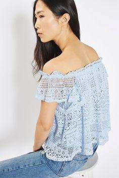 Lace Bardot Top - Tops - Clothing - Topshop USA
