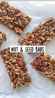 Healthy Homemade Snacks, Healthy Granola Bars, Healthy Bars, Healthy Diet Recipes, Healthy Meals For Kids, Easy Snacks, Healthy Foods To Eat, Healthy Baking, Vegetarian Recipes