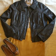 """Leather Moto Jacket Sz 18 Beautiful, perfect condition leather Moto jacket. Lots of details:  pockets, flattering seams, elbow patches. Color is a grayish black with a touch of brown. Smoke free home. Approx 22"""" from shoulder. LOFT Jackets & Coats"""