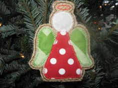 Hey, I found this really awesome Etsy listing at http://www.etsy.com/listing/164187041/red-and-green-angel-burlap-ornament
