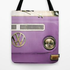 Summer of Love - Radiant Orchid Tote Bag by Olivia Joy StClaire - $22.00 radiant orchid bag, VW, Volkswagen, tote, retro, vintage, purple, lavender, orchid, cute, pretty, art