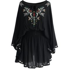Chicwish Flair Boho Stitch Tunic in Black (¥3,400) ❤ liked on Polyvore featuring dresses, tops, black dress, chicwish dress and black