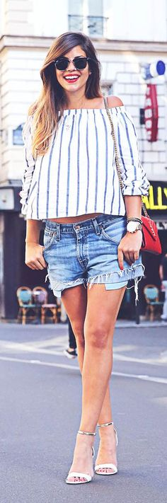 Denim And Stripes Outfit Idea by TrendyTaste