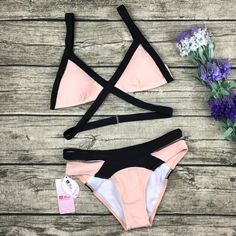 Cute Pink Strap Crisscross Bikini Set Swimsuit Swimwear