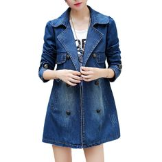Women's Turn Down Collar Double-Breasted Long Coat Denim Jacket -- More info could be found at the image url.