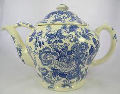 GINORMOUS! Vintage Blue Transferware Teapot Salesman Sample Asiatic Pheasants Maling Pheasants Birds Roses
