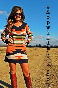 Navy Aztec Sweater Dress- Small/Medium, Medium/Large. $42.00 wwww.shopwildbleu.com