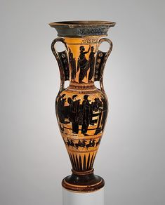 On the body, obverse, prothesis (laying out of the deceased) with mourners; reverse, mourners<br/>On the neck, obverse and reverse, mourners<br/>On the subsidiary frieze, horsemen<br/><br/>The iconography of this vase is canonical for a loutrophoros