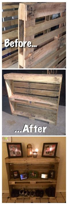 Pallet entry table. Reclaimed and up cycled! Pallet project, pallet wood, rustic shoe rack. This may be one of my next pallet projects!!!