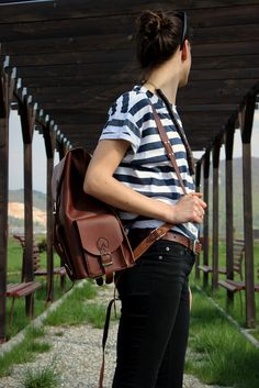 rucsac City - genuineleather. Leather Bags, Wood Watch, City, Fashion, Leather Tote Handbags, Wooden Clock, Moda, Fashion Styles