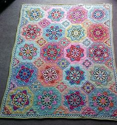 Eastern Jewels colourway of Jane Crow's Persian Tiles crochet pattern