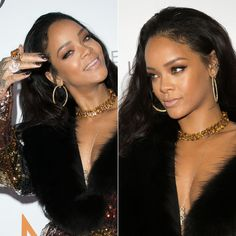 Rihanna wearing Jacquie Aiche labradorite gemstone cleavage necklace, SuperNail City Lights gel polish
