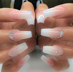 + Ideas for Coffin Shaped Nails to Rock This Summer bridal manicure idea, long coffin-style nails, with pink and white ombre-like nail polish, decorated with rhinestones and glitter - Beliebt Nagel Design Trendy Nails, Cute Nails, Fancy Nails, Nails Design With Rhinestones, Bride Nails, Coffin Shape Nails, Coffin Ombre Nails, White Coffin Nails, Nails Shape