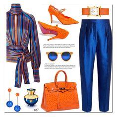 Pops Of Orange by nuria-pellisa-salvado on Polyvore featuring moda, Petar Petrov, Roksanda, Gucci, Hermès, J.W. Anderson, Spitfire, Versace, Whiteley and polyvorecontest