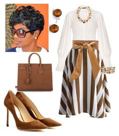 A fashion look from November 2016 featuring silk blouse, stripe skirts and Jimmy Choo. Browse and shop related looks. Church Outfit Winter, Church Attire, Winter Dress Outfits, Casual Dress Outfits, Church Outfits, Modest Outfits, Classy Outfits, Stylish Outfits, Casual Wear