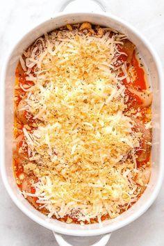 Mozzarella Parmesan Chicken Casserole - Crisp and cheesy, 30 minute keto chicken parmesan casserole