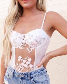 "XO Clothing Co on Instagram: ""Sometimes all you need are the details 🌸 This bodysuit is an absolute dream and gives us all the feels with the sweet embroidery it offers!…"" Xo Clothing, Floral Outfits, Floral Tops, Feels, Camisole Top, Bodysuit, Embroidery, Tank Tops, Sweet"
