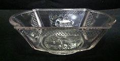 """BEAUTIFUL MCKEE EAPG PRESSED GLASS """"DEER & PINE TREE"""" BERRY/FRUIT BOWL c. 1885"""