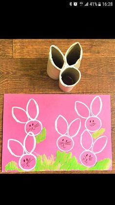 Easter Bunny Craft - Homemade Toilet Roll Stamp - NewYoungMum I saw the Easter Bunny passing the airport! Easter Bunny Craft - Homemade Toilet Roll Stamp - NewYoungMum ---- Idea for how to easily make stamps of various shapes 15 Brilliant and Clever Ideas Daycare Crafts, Bunny Crafts, Easter Crafts For Kids, Preschool Crafts, Rabbit Crafts, Easter Crafts For Preschoolers, Easter Activities For Kids, Easter With Kids, Crafts With Toddlers
