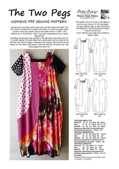 The Two Pegs, womens PDF sewing pattern