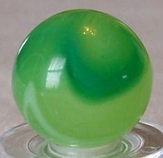 "Vintage 5/8"" Akro Agate marble - fluorescent glowing limeade corkscrew"