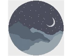 Moonlit Mountains Counted Cross Stitch by HornswoggleStore