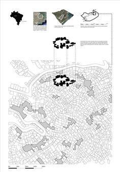 Regeneration of the Favela de Rocinha Slum / Jan Kudlicka,site plan 03 Site Analysis Architecture, Architecture Mapping, Architecture Panel, Architecture Graphics, Architecture Drawings, Architecture Portfolio, Concept Architecture, Japanese Architecture, Favelas Brazil