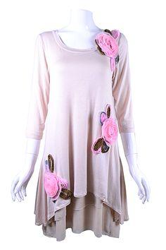Cream Floral Baby Doll Tunic - #blondellamydean #plussizefashion #plussize #curves