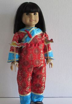 "Traditional Chinese birthday jacket and pants in red for your 18"" American Girl dolls.$30.00"