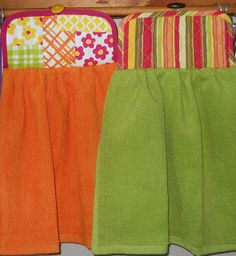DIY Sew a simple, hanging kitchen towel I know this is a towel but would make a cute style for a desk chair slipcover!