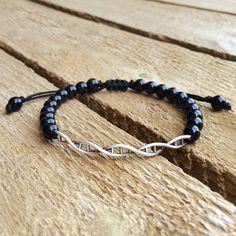 Onyx Dna bracelet 6mm Onyx beads silver Dna by CustomLeatherDesign