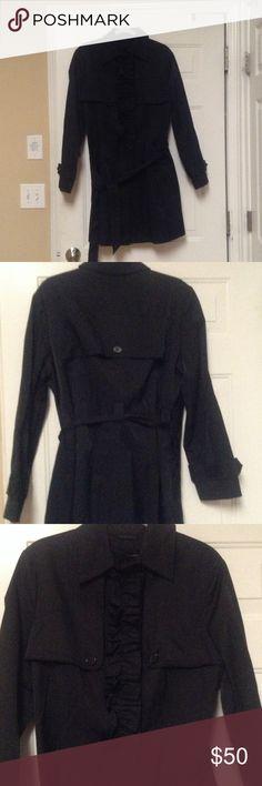 Black Trench Coat Ruffle front and side pockets New York & Company Jackets & Coats Trench Coats