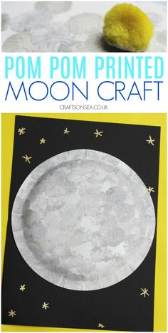 Pom Pom Printed Moon Craft, Easy pom pom printed moon craft for kids, perfect for space units! Space Crafts Preschool, Preschool Themes, Classroom Crafts, Preschool Lessons, Kids Crafts, Space Activities For Kids, Moon Activities, Space Theme For Toddlers, Outer Space Crafts For Kids
