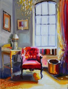 CHAISE ROUGE Original painting French Interior by CECILIA ROSSLEE