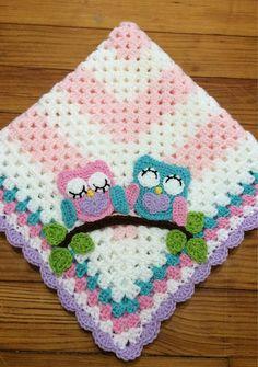 Crochet Owl Baby Blanket - Crochet Baby Afghan - Crochet Animal Blanket - Baby Girl Blanket - Toddler Blanket - Baby Gift,Crochet Owl Blanket - Crochet Baby Blanket Make crochet covers your self Who does not love a blan. Baby Girl Crochet Blanket, Toddler Blanket, Crochet Blanket Patterns, Crochet Baby, Crochet Toddler, Crochet Ideas, Crochet Owls, Afghan Patterns, Crochet Blankets