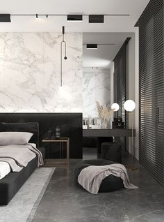 One Bedroom Apartment Hall And Living Room, Living Room Kitchen, One Bedroom Apartment, Dorm Room, Bed Room, Minimalist Dorm, Modern Minimalist, Minimalist Design, Marble Bedroom