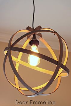 DIY embroidery hoop light fixture; Entry way light.