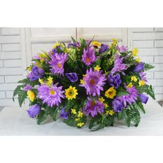 s1227 Beautiful Spring Cemetery Arrangement Headstone Saddle Grave... ($40) ❤ liked on Polyvore featuring home, home decor, floral decor, grey, home & living, floral arrangement, silk flower stems, flower arrangement, orchid floral arrangement and rose flower arrangement