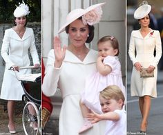 whatkatewore: Duchess of Cambridge in Alexander McQueen coat dress-Princess Charlotte's Christening 2015, Trooping the Colour 2016 (with Prince Goerge and Princess Charlotte), and Centenary of Passchendaele, Third Battle of Ypres, 2017