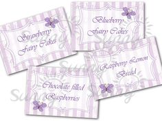 Fairy Garden party printable food tent labels