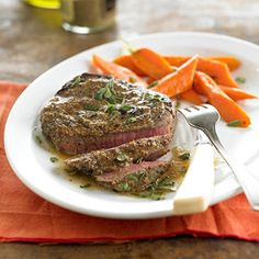 Mustard-Crusted Steaks with Herb Butter From Better Homes and Gardens, ideas and improvement projects for your home and garden plus recipes and entertaining ideas.