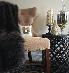 Add a bit of gold to your decor this holiday season. Go to Suburban Chic blog for ideas and inspiration.