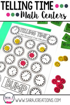 Do your students need more practice telling time? Help them review telling time to the 5 minutes with some hands on practice. These math centers are designed to save you time. Print and go! They even have student directions that you can print and set up with each small group so you don't have to repeat the directions. Save time and practice time! Ideal for first, second or third grade. Math Activities For Kids, Math For Kids, Fun Math, Measurement Activities, Teaching First Grade, Teaching Math, Homeschool Math Curriculum, Sets Math, Addition And Subtraction Worksheets
