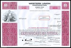 1971 Western Union Corporation 100 Shares Stock Certificate Red