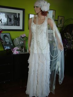 flapper dresses | 1920s Flapper Downton Abbey boardwalk Empire wedding DRESS | Very Tres ...