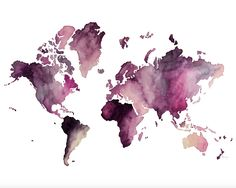 Digital Print of Hand drawn Watercolor Painting of the Map of the