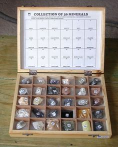 30 Minerals Collection Wooden Box Polished Study Kits Rocks Minerals Collections #Rocksmins