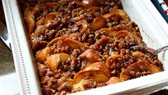 baked french toast with maple & praline,This recipe was served at a holiday brunch that I attended. It's perfect for Christmas morning